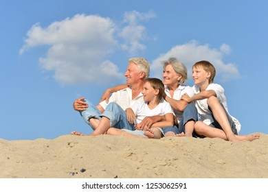 Portrait of grandparents with their grandchildren on the sand