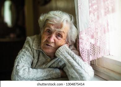 Portrait of gray-haired elderly woman.
