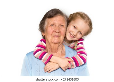 portrait of a great-grandmother, great-granddaughter, close-up