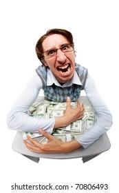 Portrait of a greedy man hiding his money