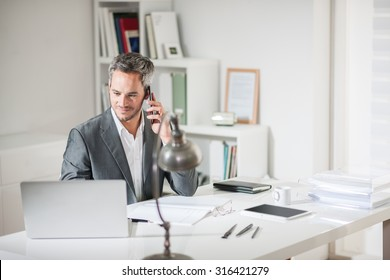 Portrait of a grey hair businessman with beard speaking on his smartphone while working on a computer at his desk. He is in a office his notebook in front of him like an insurance or bank manager