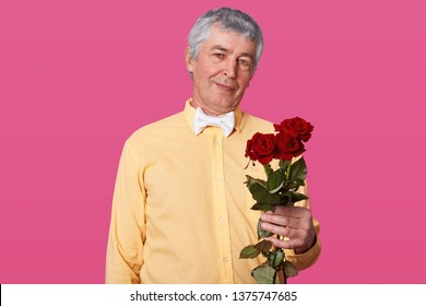 Portrait of grey haired elderly man in yellow shirt and white bow tie, holds red roses, present for his wife for birhday, poses isolated over pink studio background, handsome male with flowers.