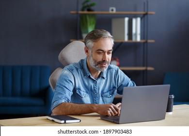 Portrait von grauhaarigen, gut aussehenden Mann, der von zu Hause aus arbeitet. Kommunikation online mit Kollegen und Videokonferenz. Online-Besprechung, Videoanruf, Fernbedienung.