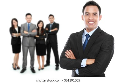 A portrait of a group of asian young businessperson. team leader