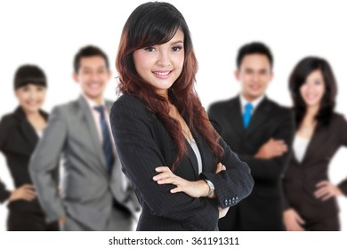 A portrait Group of asian young businessperson, woman as a team leader standing at the front