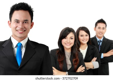 A portrait of a group of asian young businessperson, isolated in white background