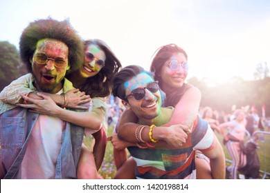 Portrait of group of friends at the festival