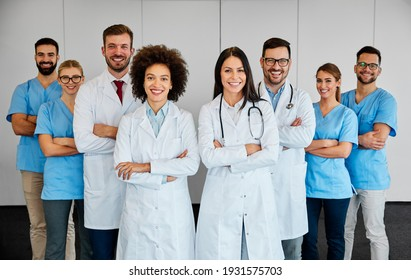 Portrait of a group of happy doctors and nurses in hospital