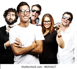 portrait of student´s group smiling and joking against a white background