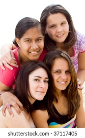 portrait of group teen girls