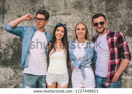 portrait guys girls posing on camera stock photo edit now