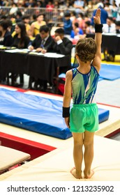 Portrait of a gymnast child waving to the jury after competing