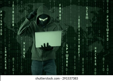 Portrait of hacker getting difficult password with binary code background