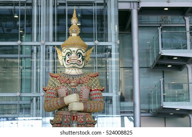 Portrait the half body of Thai giant statue