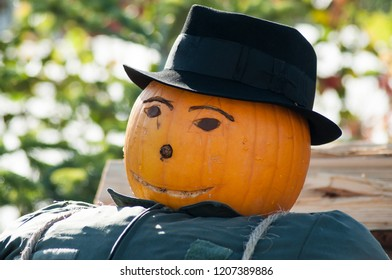 portrait of halloween scarecrow with pumpkin head