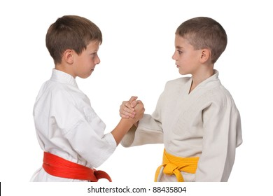 A portrait of handshaking boys in kimono; isolated on the white background