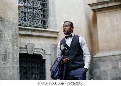 portrait of Handsome african American groom