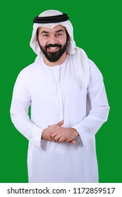 Portrait Of Handsome Arab Man Smiling Wearing UAE Tradational Dress