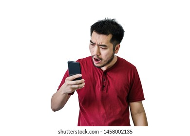 Portrait of handsome asian bearded man looking at his smartphone reactions in confusion and shock. Concept social media, network ,communication, technology. isolated on white background.