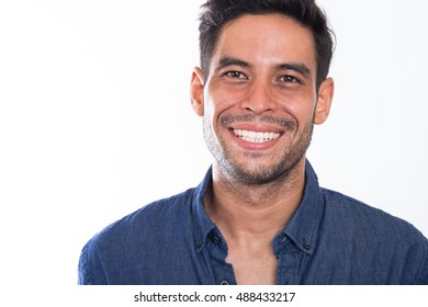 portrait of a Handsome Asian Men Smiling on isolated  white background