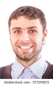 portrait of handsome bearded light brown-haired european guy with open look wide smile and ear-rings