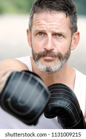 portrait of handsome bearded man with boxing gloves