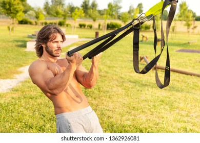 Portrait of a handsome bearded young man exercising outdoors during upper body workout routine; trx suspension training concept;