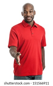 Portrait of a handsome black man in his late 20s with hand outstretched to shake hands isolated on white