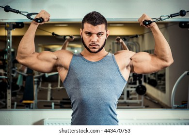 Portrait of a handsome bodybuilder with a beard perform exercises on hand in the fitness club.