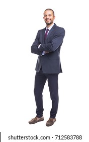 Portrait of a handsome businessman in blue suit, isolated on white background