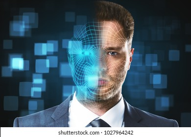 Portrait of handsome businessman with digital grid. Face ID and future concept