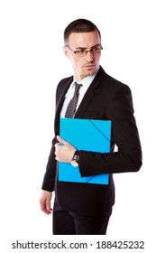 Portrait of a handsome businessman holding folder isolated on a white background