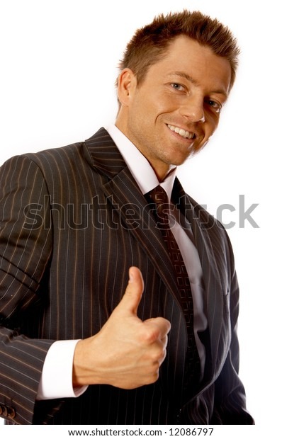 Portrait of handsome businessman isolated on white