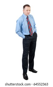 Portrait of a handsome businessman with serious face isolated over white background