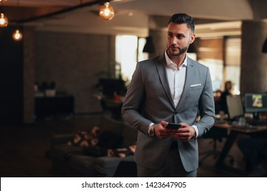 Portrait of handsome businessman in suit with phone in office - Image