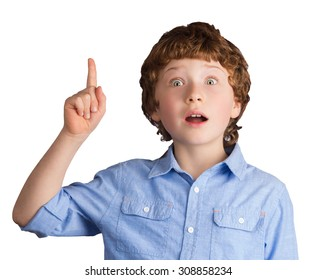Portrait of handsome caucasian boy with inspired facial expression who just has got an idea. Isolated on white background