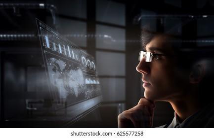 Portrait of handsome doctor . Mixed media