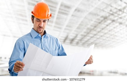 Portrait of an handsome engineer at work