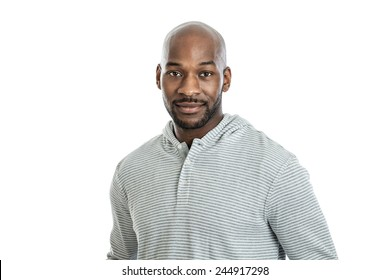 Portrait of a handsome late 20s black man isolated on white background