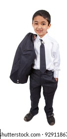 Portrait of a Handsome Little Boy in a Business Suit, Isolated, White