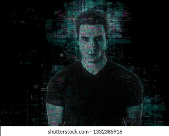 Portrait of handsome man in abstract glowing effect with holographic shadow on black background