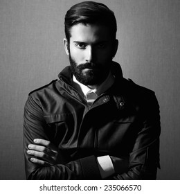 Portrait of handsome man with beard. Fashion photo. Black and white photo