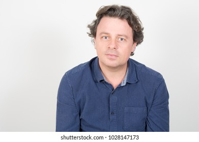 Portrait of handsome man with blue shirt