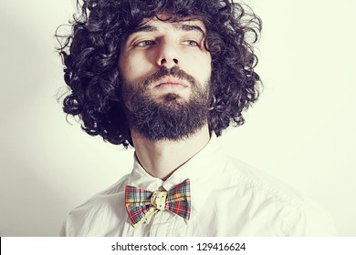 portrait of handsome man with bow-tie
