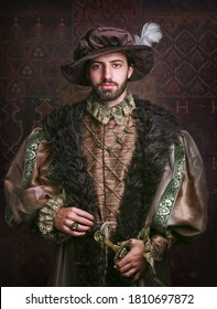 Portrait of a handsome man grandee in 16th century costume.