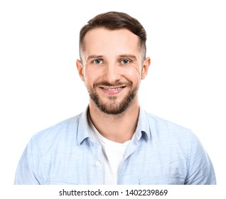 Portrait of handsome man on white background