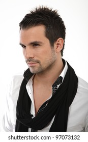 Portrait of handsome man with shirt and scarf