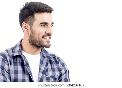 Portrait of handsome man smiling with copy space isolated on white background