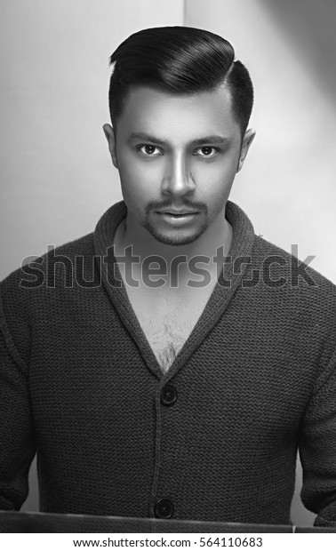 Enjoyable Portrait Handsome Man Stylish Haircut Trend Stock Photo Edit Now Natural Hairstyles Runnerswayorg