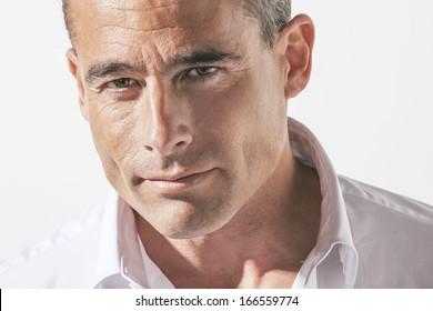 Portrait of handsome mature man./  Portrait of handsome mature man.